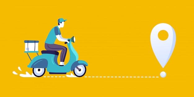 Доставка человек на скутере. доставка еды курьером, доставка на городском велосипеде и маршрут доставки иллюстрации Premium векторы
