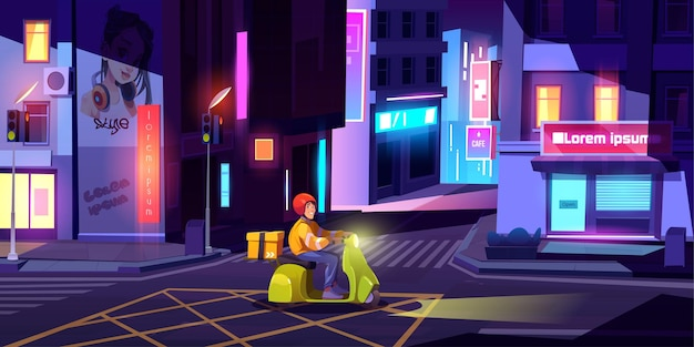 夜の街の通りでボックスドライブとスクーターの配達人。 無料ベクター