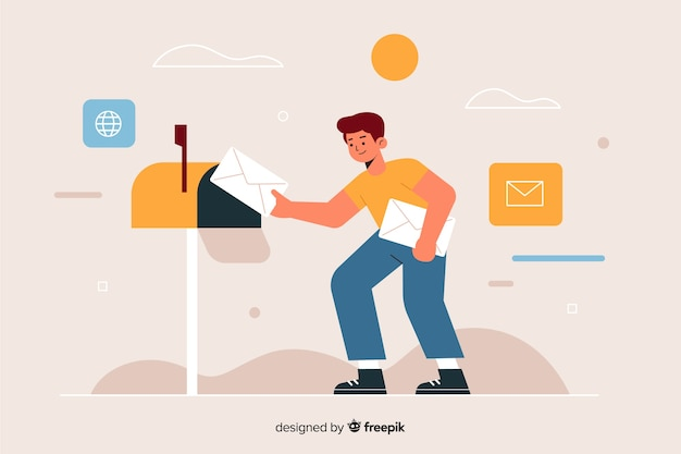 Delivery man putting a letter in the mailbox Free Vector