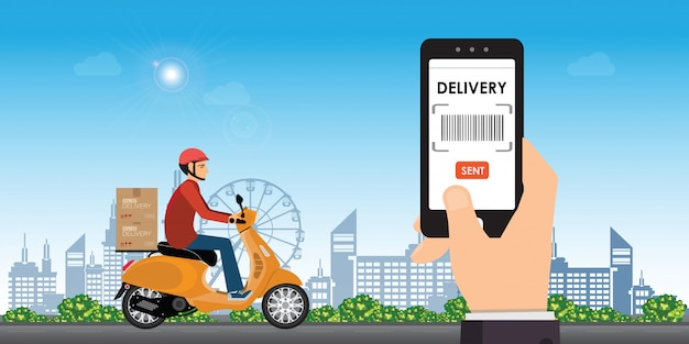 Delivery man ride bike get order. Premium Vector