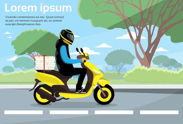 Delivery man ride scooter motorcycle deliver service Premium Vector