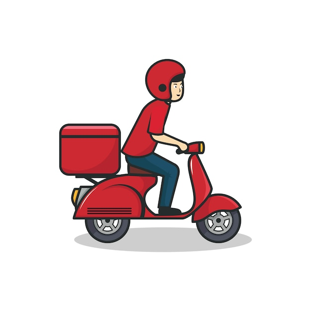 Delivery man riding red scooter illustration Premium Vector