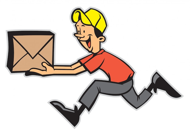 Delivery man running while holding the package Premium Vector
