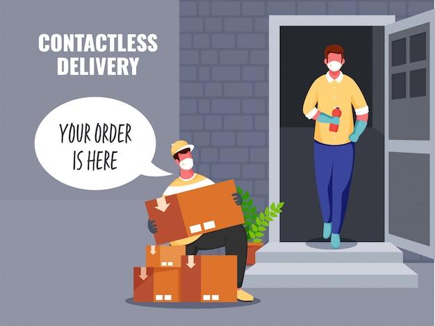 Доставщик говорит, что ваш заказ здесь с посылочными ящиками для бесконтактного клиента у двери во время пандемии коронавируса. Premium векторы