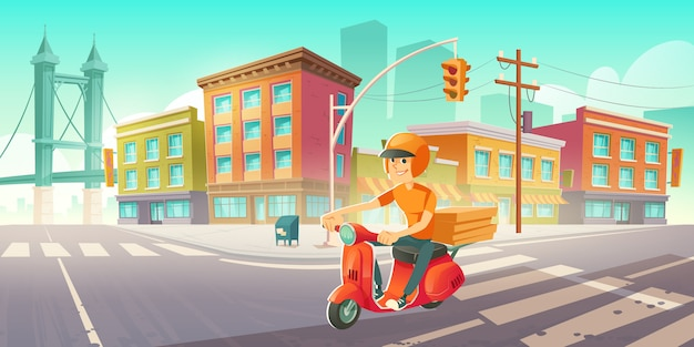 Delivery man on scooter drives on city street Free Vector