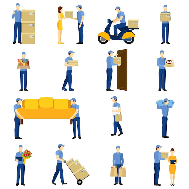 Delivery man set Free Vector