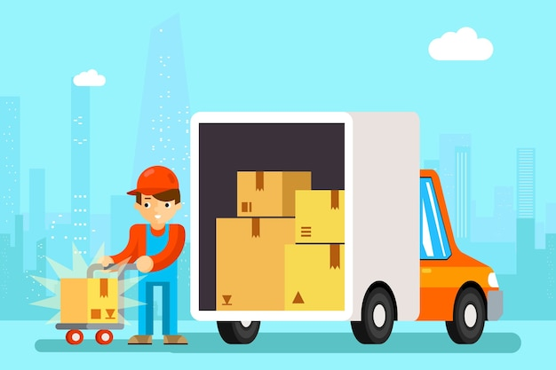 Delivery man unload delivery car boxes. transportation cargo, cardboard and vehicle, Free Vector