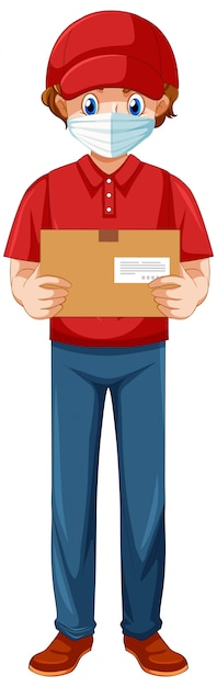 Delivery man wearing uniform Free Vector