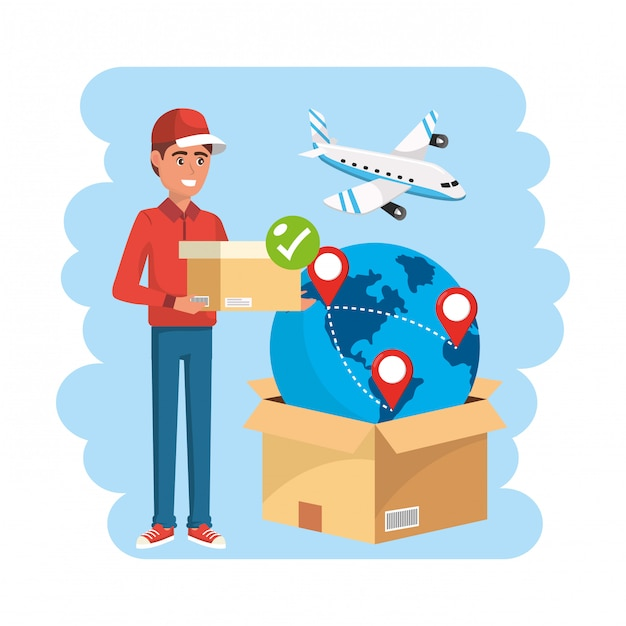 Delivery man with box service distribution Premium Vector