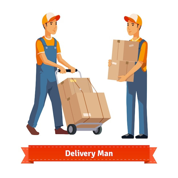 Delivery man with boxes Free Vector