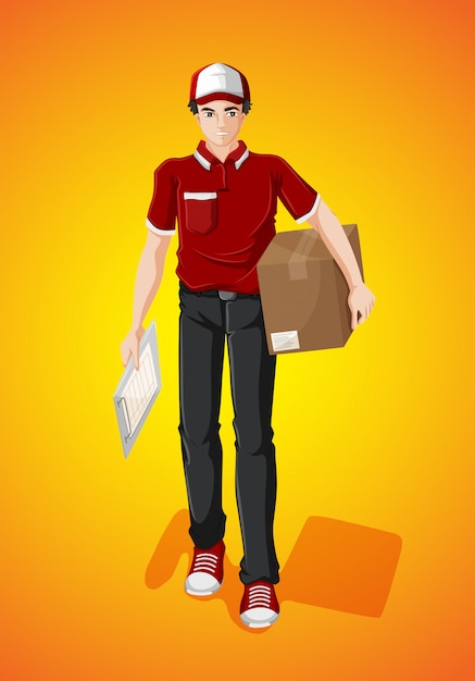 Delivery man with cardboard box Free Vector