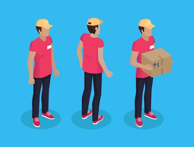 Delivery man with parcel set illustration Premium Vector