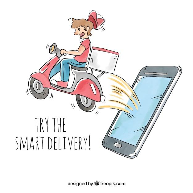 Uomo di consegna con scooter che esce lo schermo del telefono Vettore gratuito