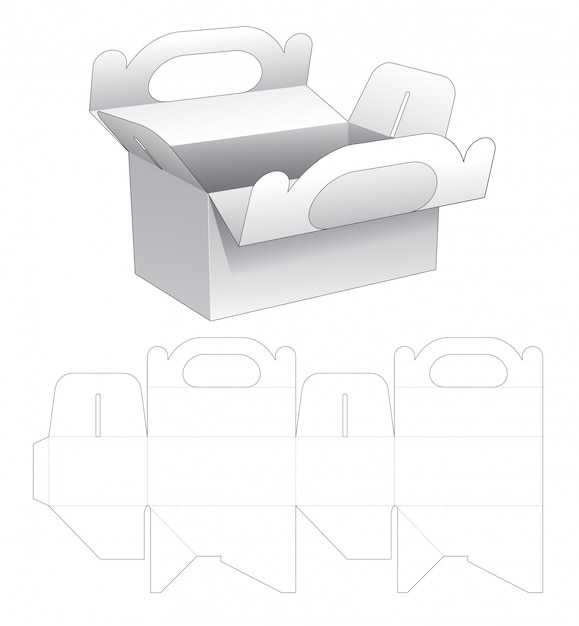 Delivery meal box with holder die cut template Premium Vector