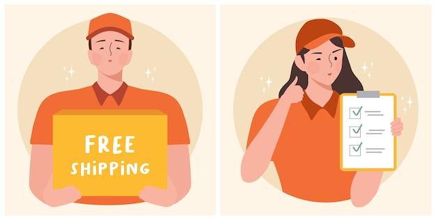 Работники доставляющие покупки на дом стоя с коробкой столба пакета и бесплатная доставка космоса текста vector иллюстрация. Premium векторы