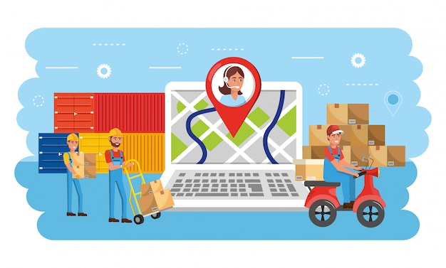Delivery men with distribution boxes service and containers Premium Vector