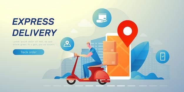 Delivery messenger banner Premium Vector