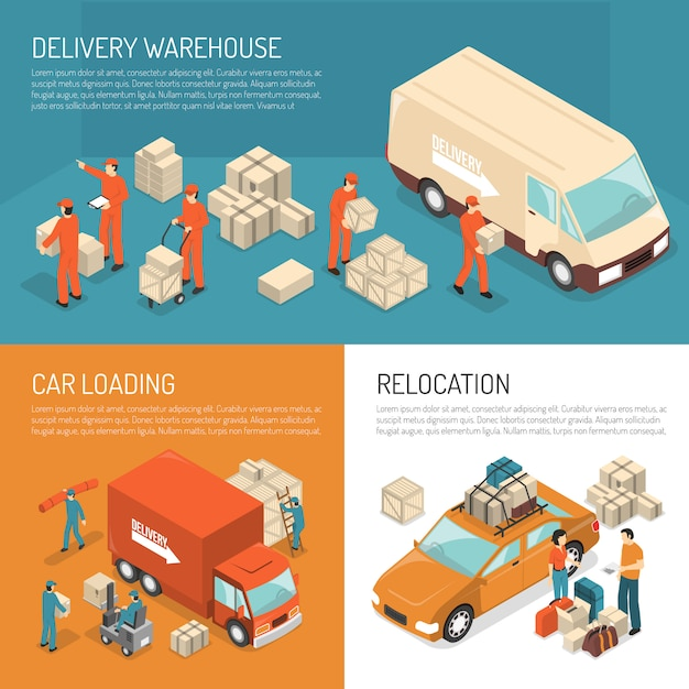 Delivery moving design concept Free Vector