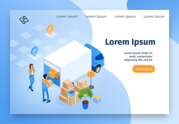 Delivery, moving service isometric vector website Premium Vector