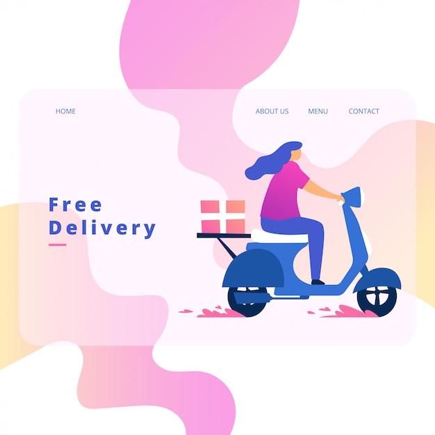 Delivery order landing page vector design Premium Vector