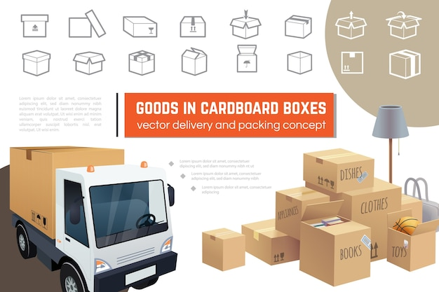 Delivery and packaging service composition Free Vector