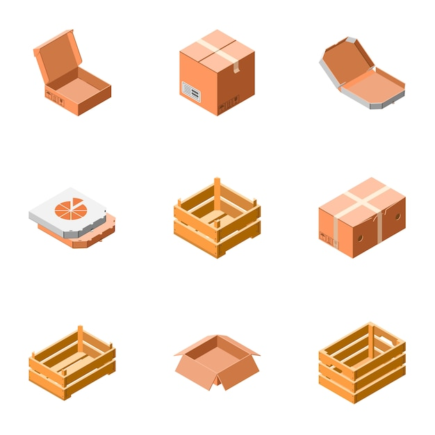 Delivery packing box icon set. isometric set of 9 delivery packing box icons Premium Vector