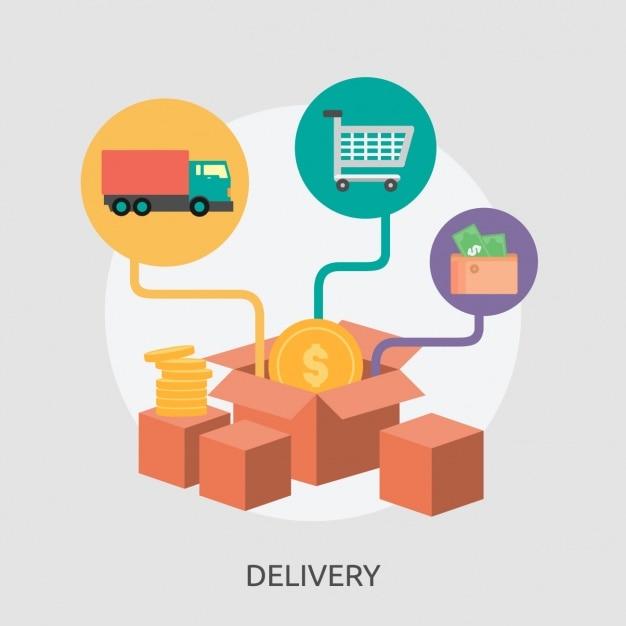 Delivery parcels background design Free Vector