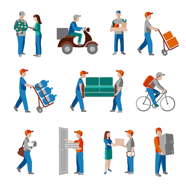 Delivery person set Free Vector