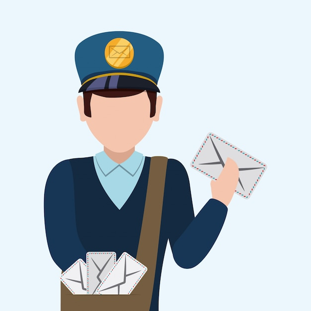 Delivery postman design. Premium Vector