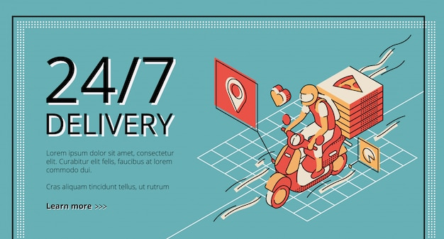 Delivery service 24/7 landing page on retro colored. courier riding scooter with pizza boxes. Free Vector