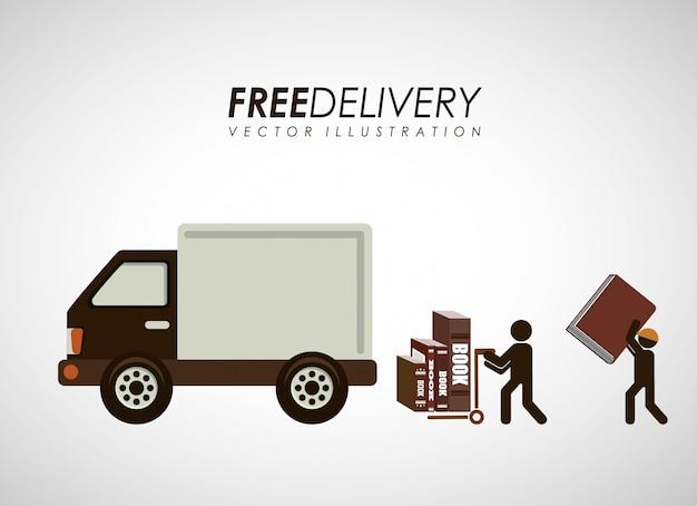 Delivery service books Premium Vector