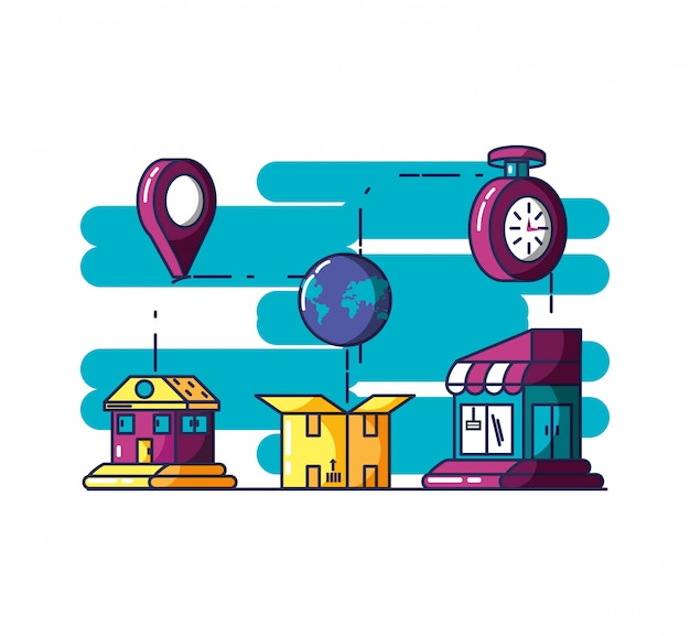 Delivery service building and box Premium Vector