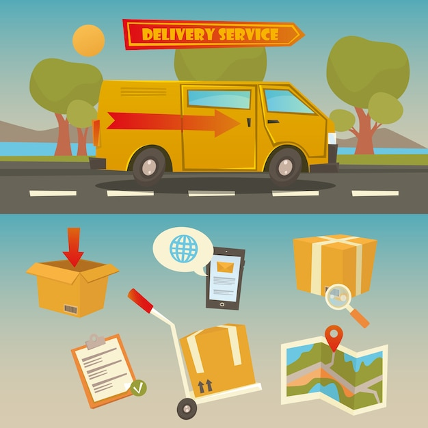 Delivery service. cargo truck with set of elements: containers, checklist, map. vector illustration Premium Vector
