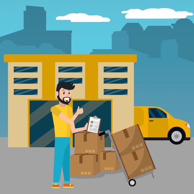 Delivery service cartoon Premium Vector