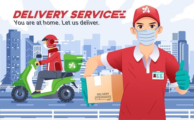 Delivery service company with man wearing masks bring a box and thumbs up, delivery courier send the package riding motorcycle and wearing helmet, with city landscape as background Premium Vector