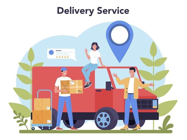 Служба доставки. курьер в погонах с ящиком от грузовика. доставка еды онлайн. заказ товаров в интернете. экспресс-концепция логистики. Premium векторы