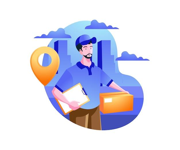 配達サービス、配達宅配便はパッケージを送ります Premiumベクター