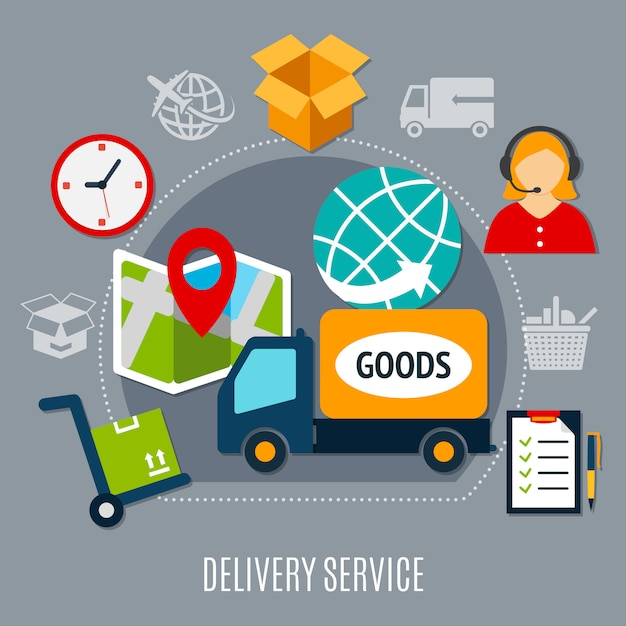 Delivery service flat composition Free Vector