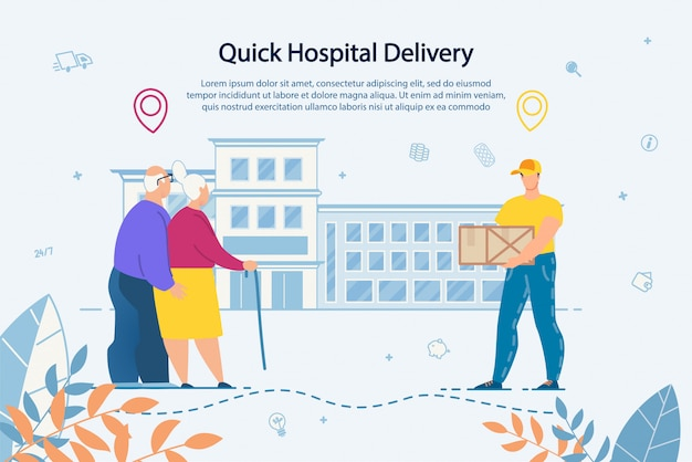 Delivery service to hospital for elderly people Premium Vector