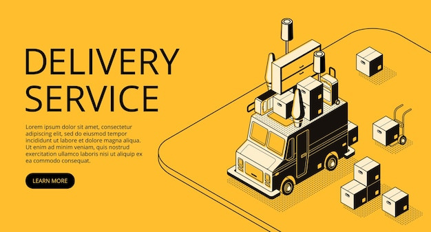 Delivery service illustration of loader truck with furniture for moving Free Vector