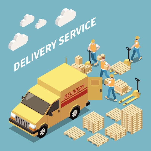 Delivery service isometric composition with workers loading goods 3d isometric vector illustration Free Vector