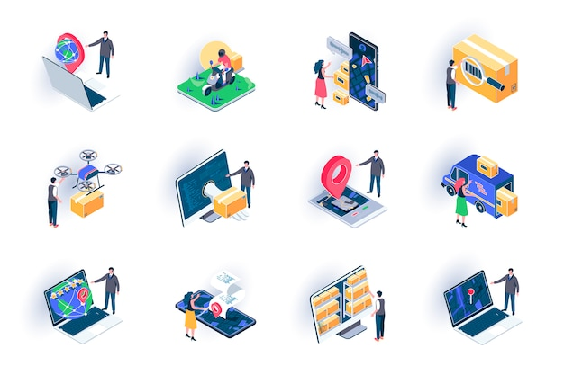 Delivery service isometric icons set. global logistics, warehousing and distribution flat illustration. courier delivery, online route tracking 3d isometry pictograms with people characters. Premium Vector