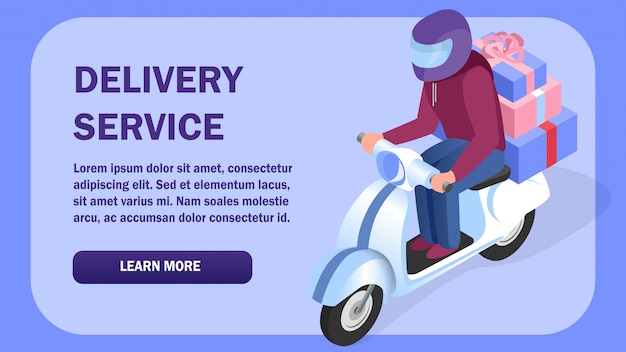 Delivery service isometric web banner template Premium Vector