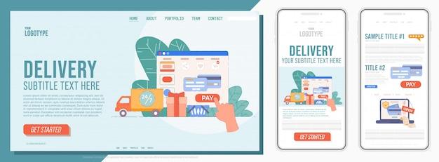 Целевая страница службы доставки. шаблон мобильной целевой страницы для бизнеса со службой экспресс-доставки. простой интерфейс сайта для онлайн-заказа Premium векторы