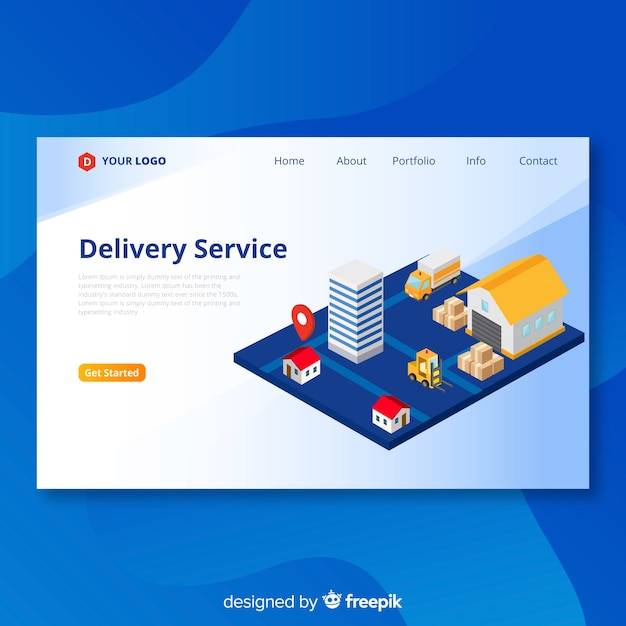 Delivery service landing page Free Vector