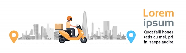Delivery service, man courier riding motorcycle with box parcel over silhouette city buildings horizontal banner Premium Vector