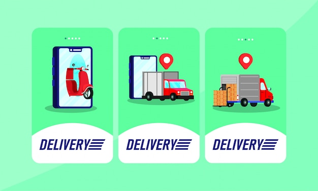 Delivery service online set icons Premium Vector
