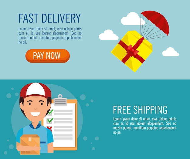Delivery service set icons vector illustration design Premium Vector