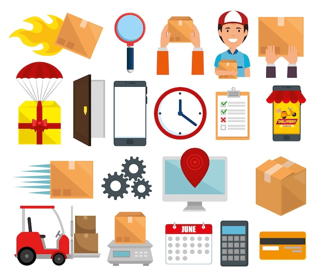 Delivery service set icons vector illustration design Premium Vector