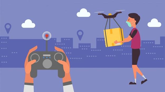 Служба доставки транспортирует продукты, заказывая продукты онлайн. расстояние снижайте риск заражения и заболевания. забирайте жизнь в будущее. и иллюстрации персонажей. Premium векторы